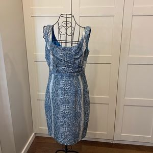 Tahari Dress in Blue pattern